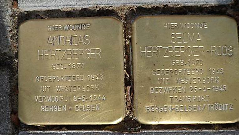 Gedenkstenen in het trottoir van de Apollolaan in Amsterdam. Beeld Marijke van den Berg-Leydesdorf