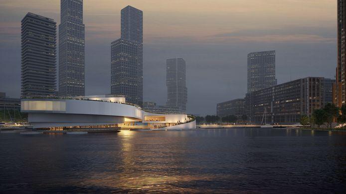 Daar ligt-ie, het Maritime Center Rotterdam. Voor de 'kust' van de Wilhelminapier, in de rug gedekt door enkele Rotterdamse bouwreuzen. Ontwerp van Mecanoo.