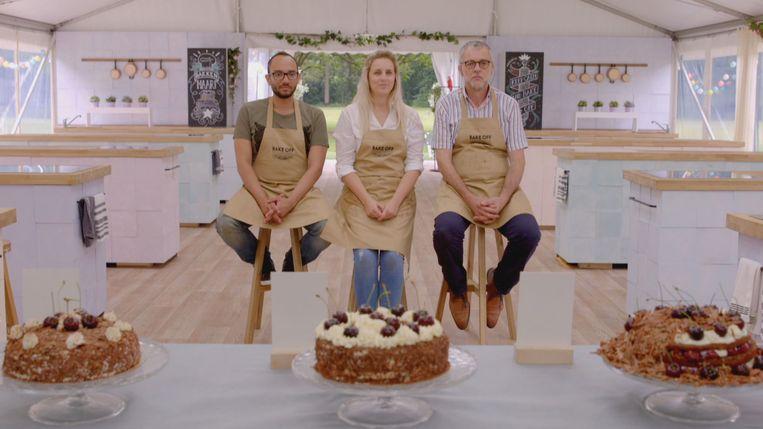 Alexander, Valerie en Hans dingen naar de eindoverwinning van het eerste seizoen van 'Bake Off Vlaanderen'. Beeld SBS Belgium