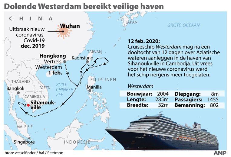Het schip arriveert vandaag 07.00 uur lokale tijd in Sihanoukville in Cambodja.