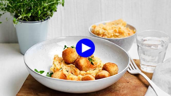Met deze verse kaasballetjes erbij wordt wortelstoemp een waar feestmaal