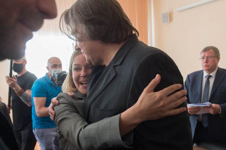 De Russische actrice Joelia Peresild reageert verheugd op het nieuws dat zij een hoofdrol mag spelen in de eerste lange speelfilm die wordt geschoten in de ruimte.  Beeld AFP