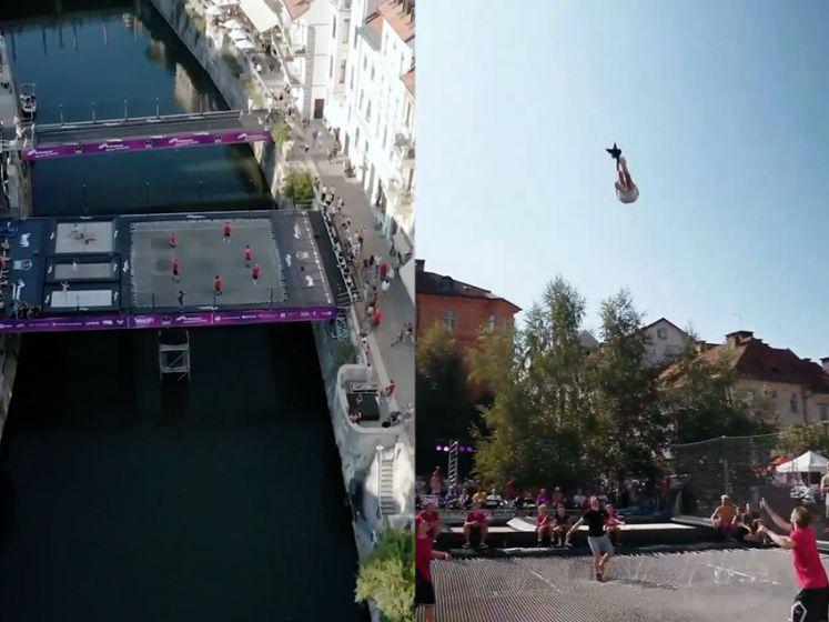 Waaghalzen bouwen 's werelds eerste trampolinebrug boven rivier