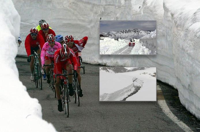 In 2014 lag er ook sneeuw op de Gavia tijdens de Giro, maar was de weg befietsbaar. Inzetten: zo ziet de Gavia er op dit moment uit.