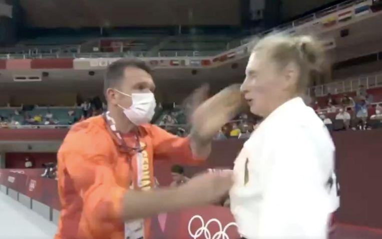 Trajdos kreeg enkele rake tikken van haar coach. Beeld Rv