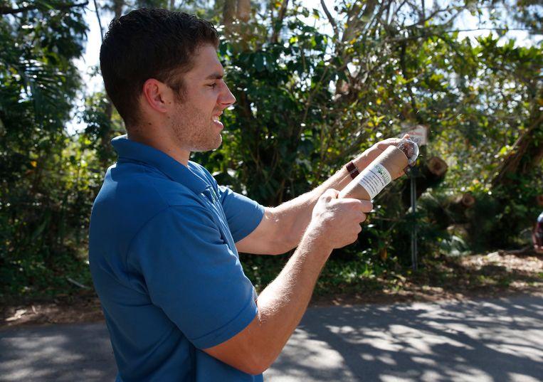 Een man vuurt steriele mannetjesmuggen af in Florida. Zo hoopt men hele muggenpopulaties uit te roeien. Beeld AFP
