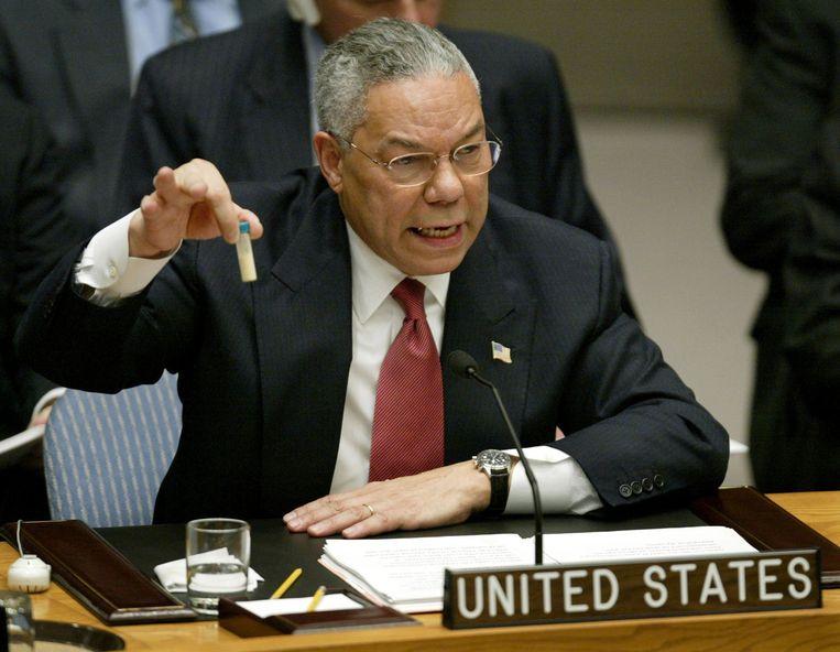 Colin Powell over Irak, 2003. Beeld Reuters