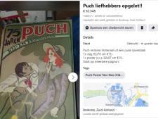 Posters, affiches en vlaggen van Puch: Jeroen verkoopt oud reclamemateriaal uit de rijwielzaak van zijn vader