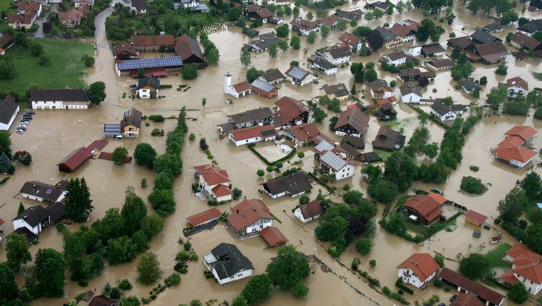 Wateroverlast in de Duitse plaats Simbach (Beieren). Beeld epa