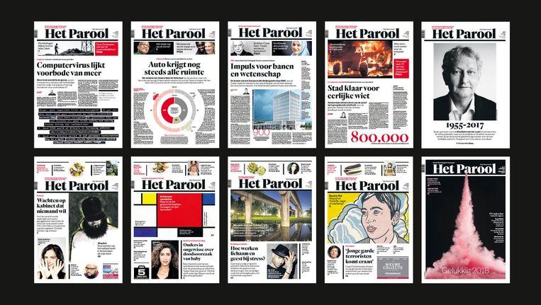 Covers van Het Parool van vorig jaar Beeld Het Parool
