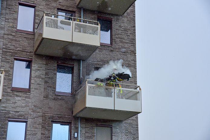 Brand op een balkon in Tilburg