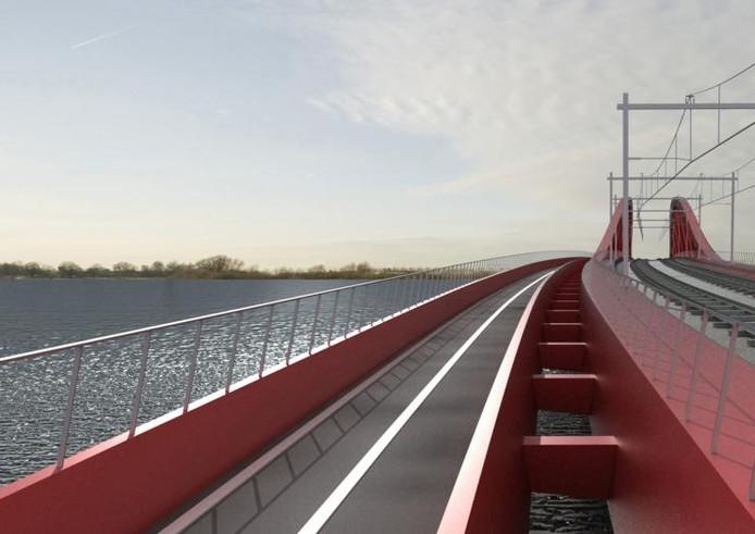 De fietsbrug hangt aan de zuidzijde van de nieuwe spoorbrug die over de IJssel wordt gebouwd voor de Hanzelijn. Tussen de fiets- en de spoorbrug komt een 'doorvalbeveiliging'. illustraties Welling/Zublin/Donges, ontwerp Quist Wintermans Architekten.