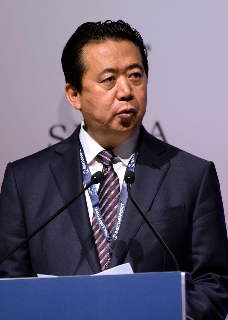 Interpol-directeur Meng Hongwei werd in september bij zijn terugkeer in zijn thuisland China gearresteerd en is sindsdien spoorloos. Beeld AFP