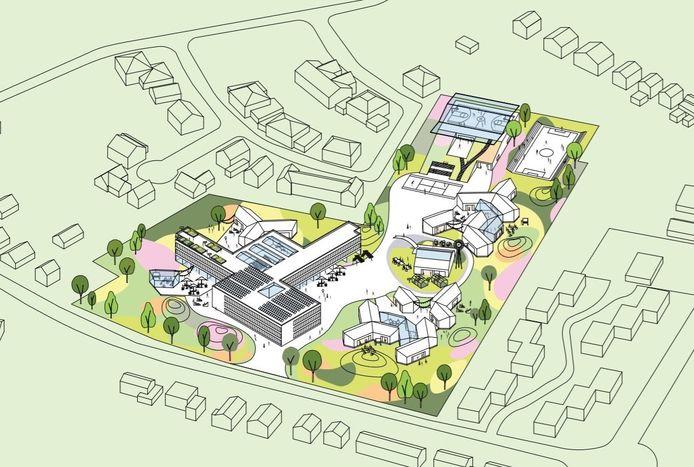 Een ontwerpschets van het nieuwe Reggesteyn aan de Noetselerbergweg.