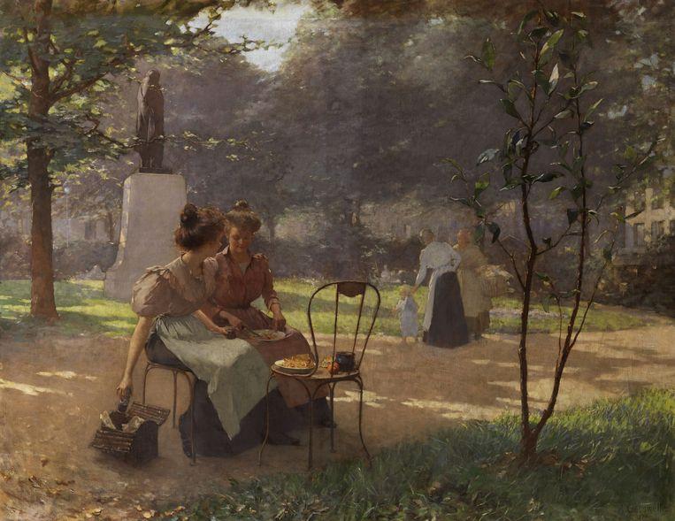 Twee jonge meisjes in het park van Albert Cresswell. Beeld