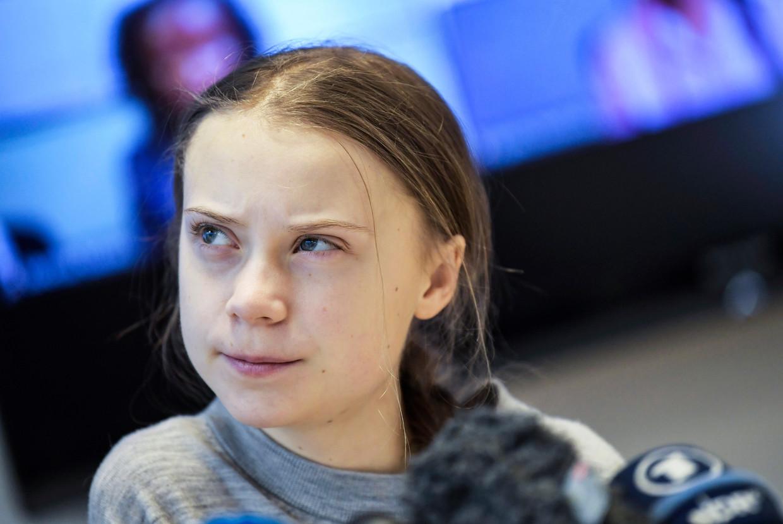 Greta Thunberg tijdens een persconferentie in Stockholm, vrijdag 31 janauri, na een bijeenkomst met Afrikaanse klimaatactivisten en -deskundigen over milieubedreigingen op dat continent.