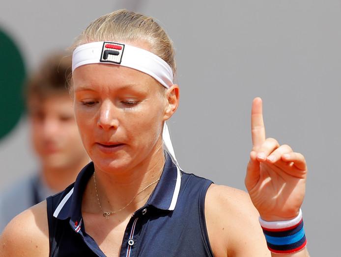 Afbeelding van Kiki Bertens op Roland Garros, het toernooi waar ze zich zo graag had willen manifesteren. Bertens moest in de tweede ronde opgeven vanwege ziekte.