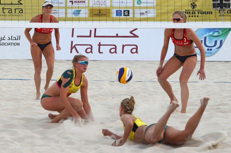 Een wedstrijd in Qatar tussen Duitsland en Noorwegen op 8 maart.  Beeld AFP