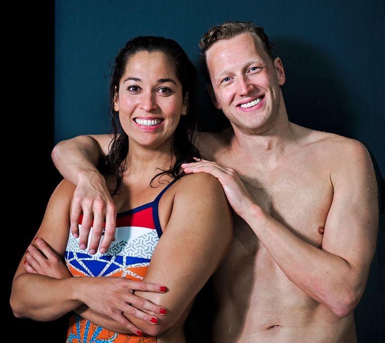 De topsporters Ranomi Kromowidjojo en Ferry Weertman. Kromowidjojo staat voor haar vierde Spelen, Weertman voor zijn tweede. Sinds 2015 hebben ze een relatie. Beeld Klaas Jan van der Weij