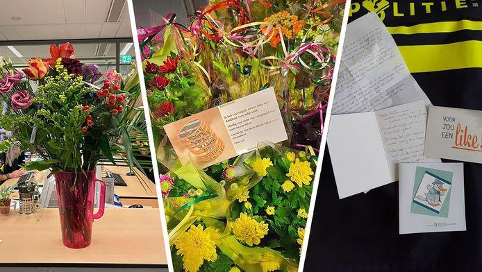 Bloemen en steunbetuigingen voor agenten in de regio Den Haag.
