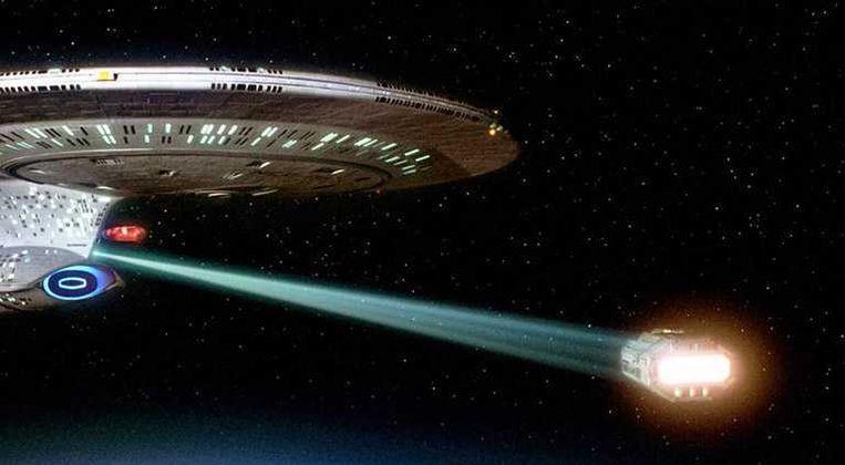 De 'tractor beam' in Star Trek. Beeld