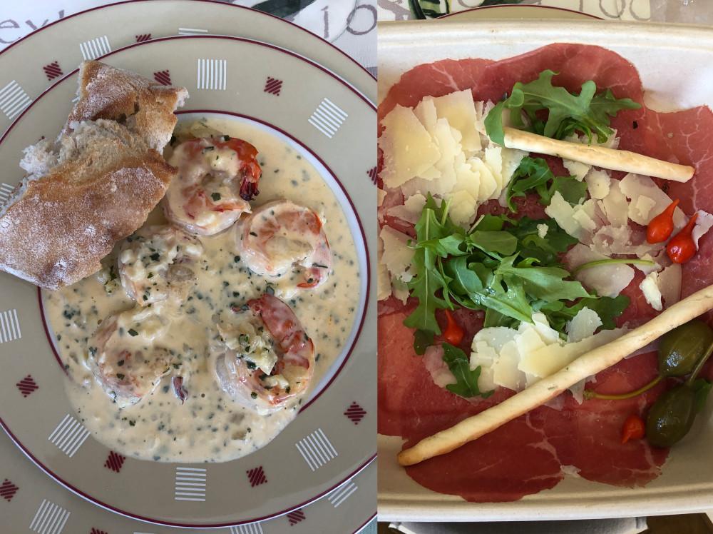 Scampi's met look-roomsaus (links) en rundscarpaccio met breadstics, rucola en parmezaan (rechts).