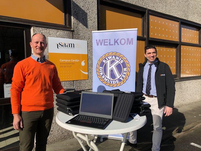 Tommy Es van 't Saam en Filip Vandenberghe, voorzitter Kiwanis