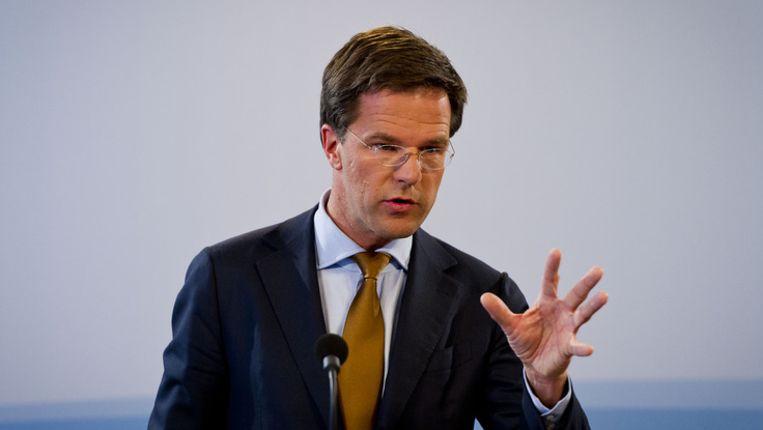Premier Mark Rutte vandaag na afloop van de ministerraad. © ANP Beeld