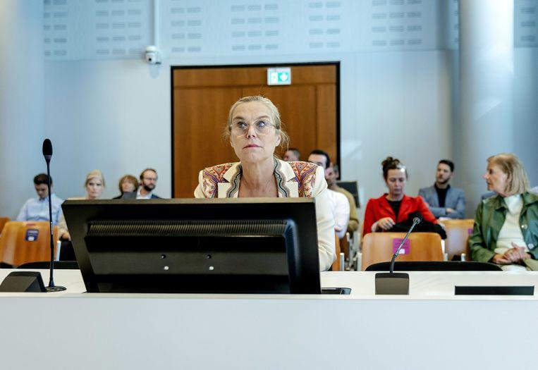 D66-leider Sigrid Kaag voorafgaand aan de rechtszaak tegen de man die haar bedreigde.  Beeld ANP