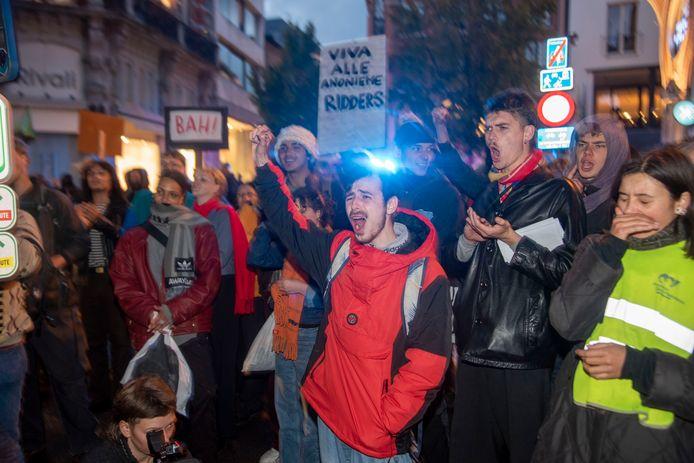 Protest in de straten van Gent