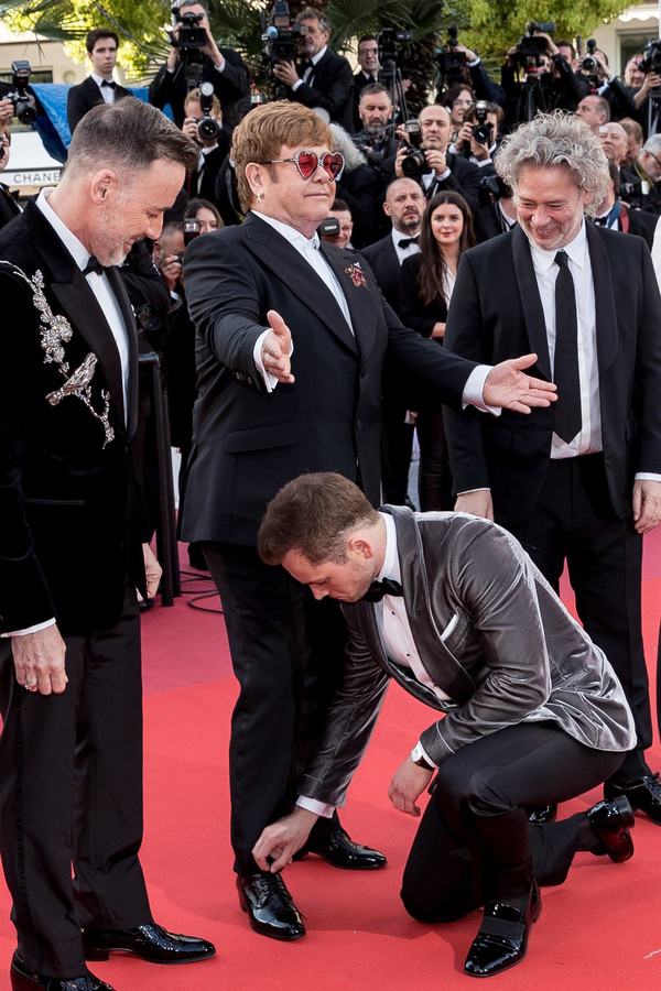 David Furnish, Elton John, Taron Egerton, Dexter Fletcher