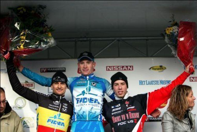 Klaas Vantornout (m) won vorig seizoen in Overijse voor Bart Wellens (l) en Philipp Walsleben (r). Beeld UNKNOWN