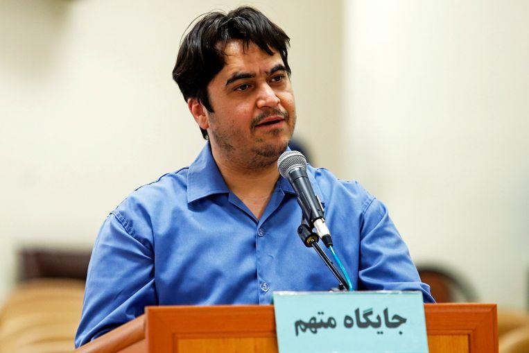 De journalist Ruhollah Zam. Hij werd vorige week opgehangen omdat hij kritische berichten over het regime in Teheran verspreidde. Beeld AP