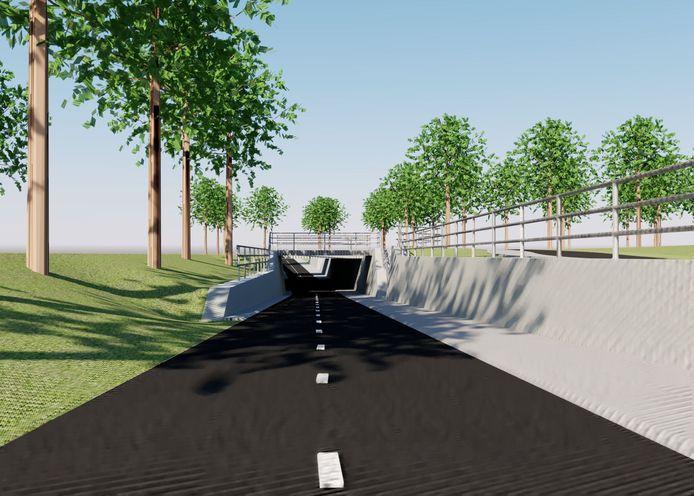Zó komt die fietstunnel op de Utrechtseweg eruit te zien.