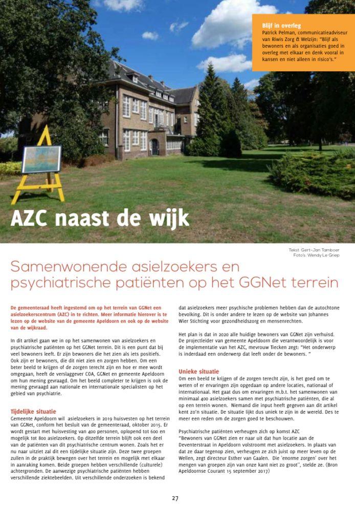 De cover van één van de gewraakte artikelen die De Wijkkijker schreef over het azc, dat later dit jaar in Apeldoorn opent. Het dateert van de editie van herfst 2018.
