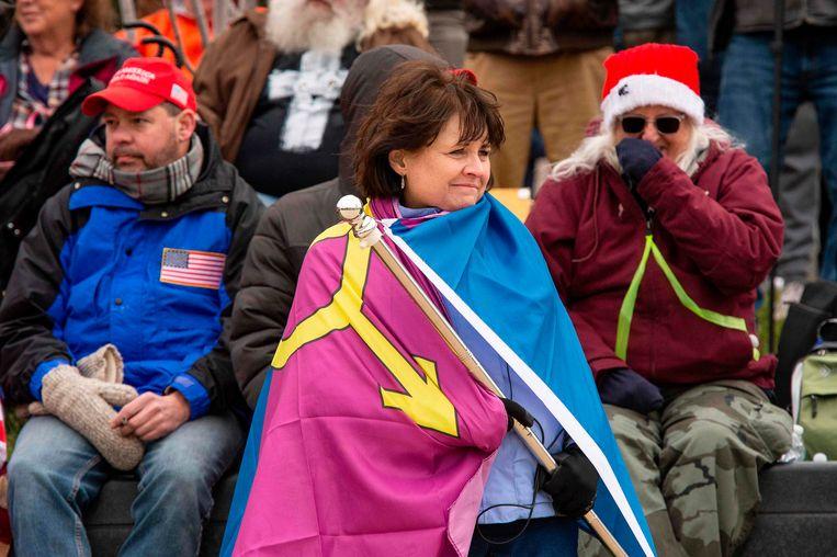 De Straight Pride-vlag van behoudende Amerikanen die voor traditionele waarden zijn. Beeld AFP