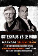 De poster waarmee het debat tussen Ab Osterhaus en Maurice de Hond werd aangekondigd,