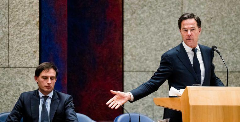 Minister Wopke Hoekstra van Financiën en Premier Rutte. Beeld ANP