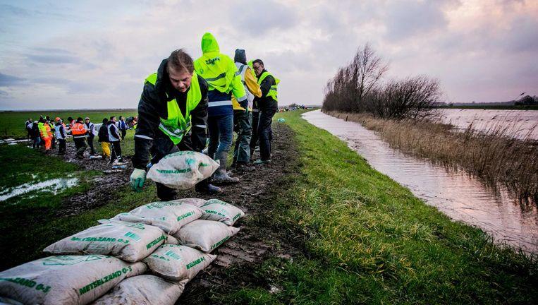 Vrijwilligers helpen woensdag met het versterken van de dijken bij Kampen. Beeld null