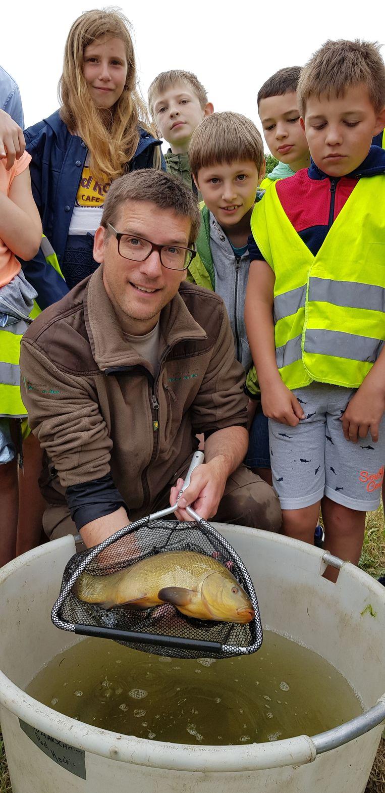 Visserijbioloog Alain Dillen toont een zeelt.