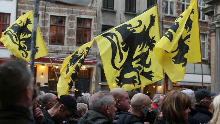 Pegida-betogers in Antwerpen. Beeld BELGA