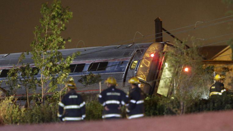De ontspoorde trein Beeld ap