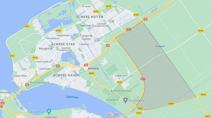 De Eemvallei (grijze gebied). Hier willen woningcorporatie De Alliantie, twee vastgoedontwikkelaars en bouwbedrijf Heijman een stad met 50.000 woningen laten verrijzen.