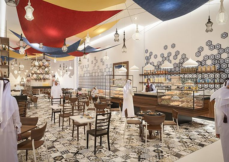 Impressie van een restaurant in Abraj Kudai. Beeld design mena