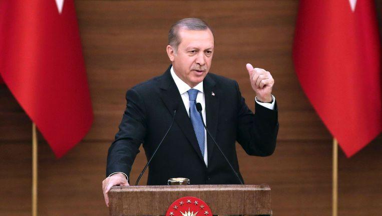 Recep Tayyip Erdogan in het paleis in Ankara.
