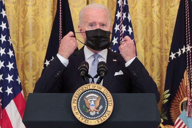 President Joe Biden gaf vorige week een persconferentie om meer Amerikanen over te halen zich te laten vaccineren.  Beeld EPA