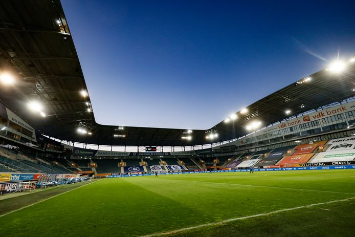 Illustration picture shows the Ghelamco Arena stadium during a soccer match between KAA Gent and Standard Liege, Wednesday 19 May 2021 in Gent, on day 5 of 6 of the 'Europe' play-offs of the 'Jupiler Pro League' first division of the Belgian championship. BELGA PHOTO BRUNO FAHY