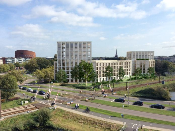 Impressie van woontoren aan de Sacharovlaan in Alphen, gezien vanaf het Da Vinci-gebouw.