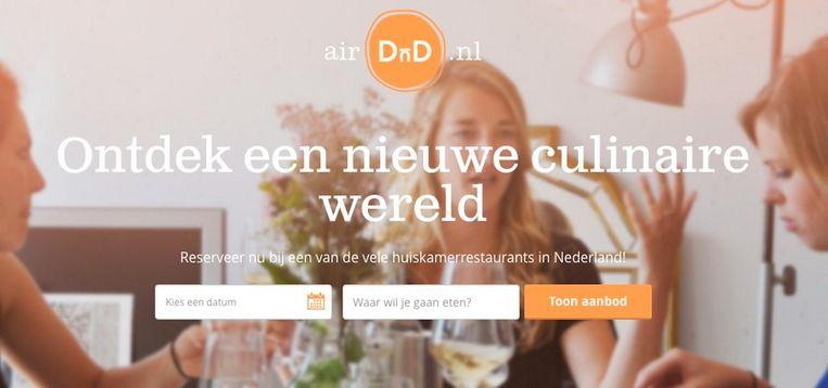 Fabian Brink van AirDnD: 'Eigenlijk zijn we de grootste kookvereniging van Nederland' Beeld Website AirDnD.nl