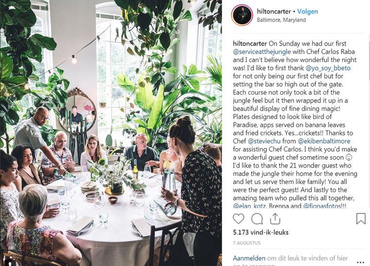 Hilton organiseert regelmatig diners tussen zijn planten. Beeld Instagram Hilton Carter